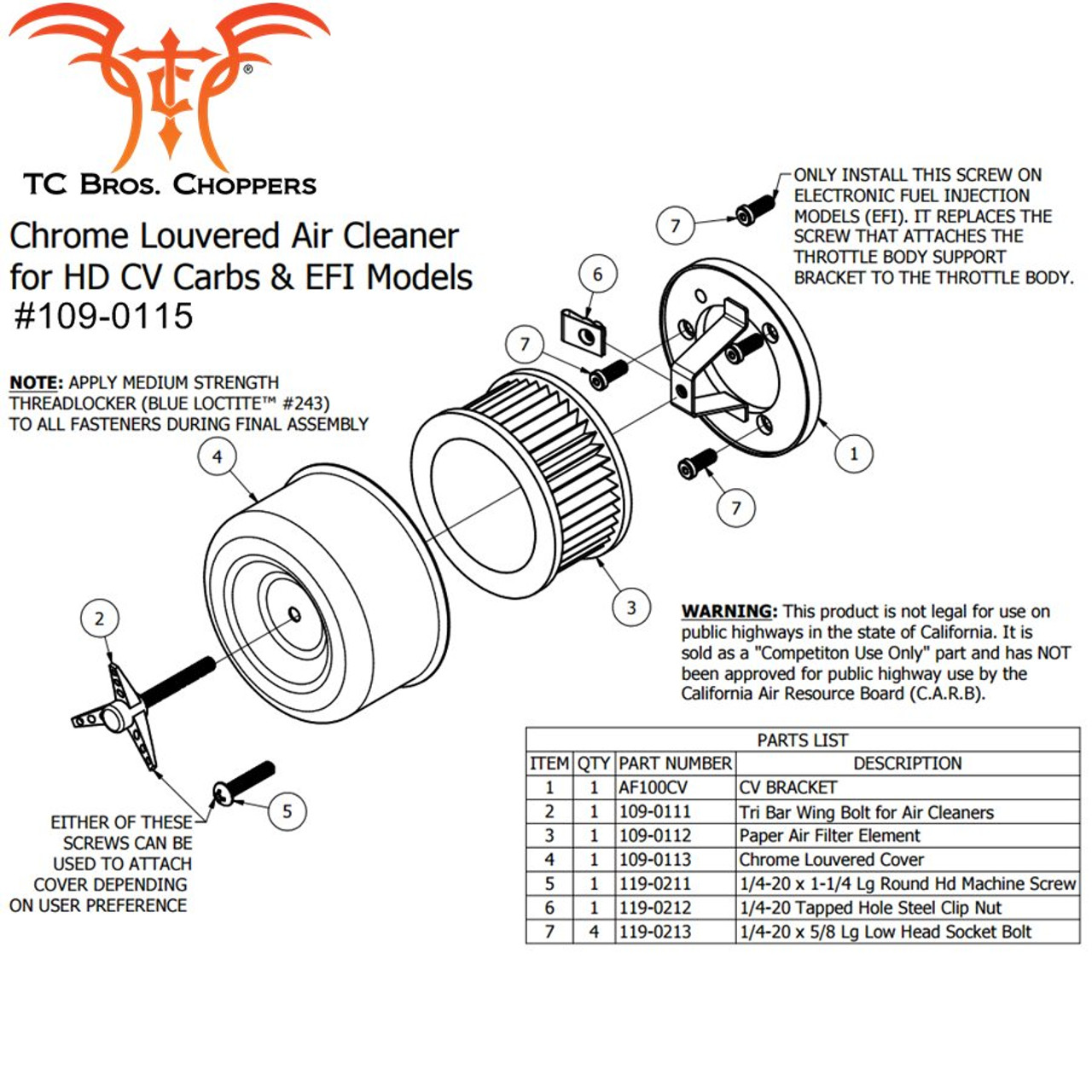 tc bros  chrome louvered air cleaner for harley