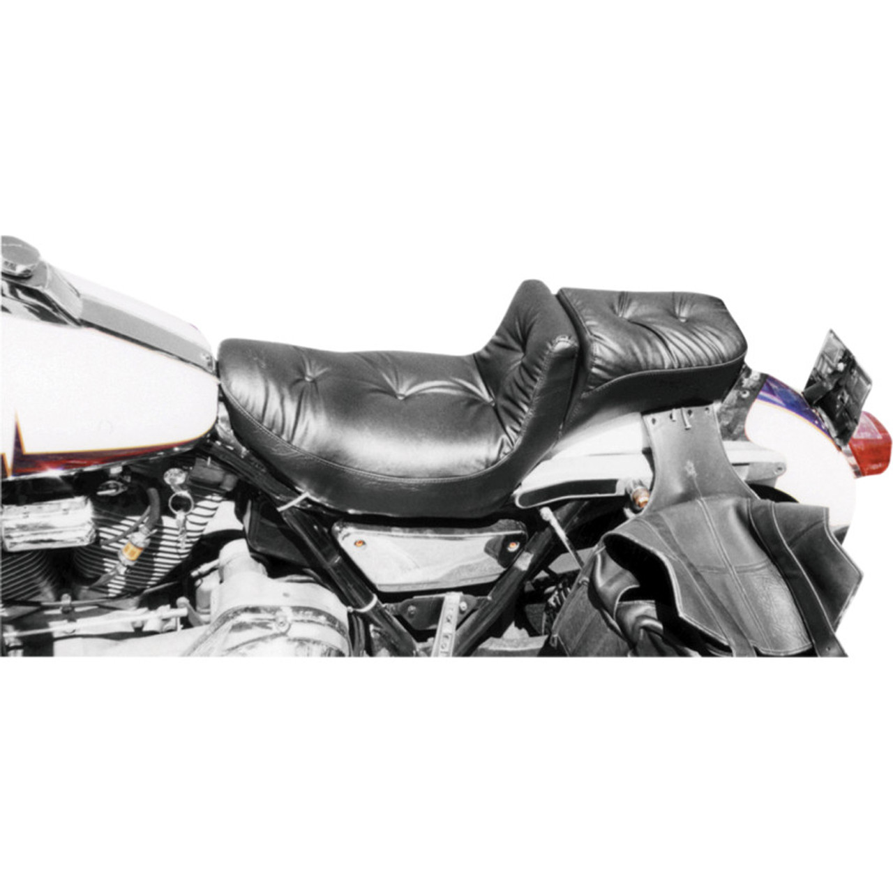 Mustang Regal Duke Pillow Seat for Harley FXR - Get Lowered Cycles