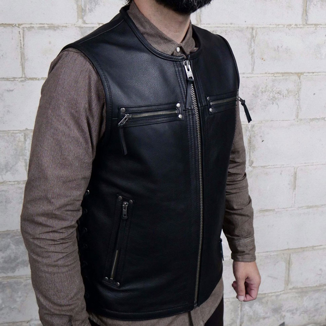 Finest First Mfg. Brawler Leather Motorcycle Vest - Get Lowered Cycles EE43