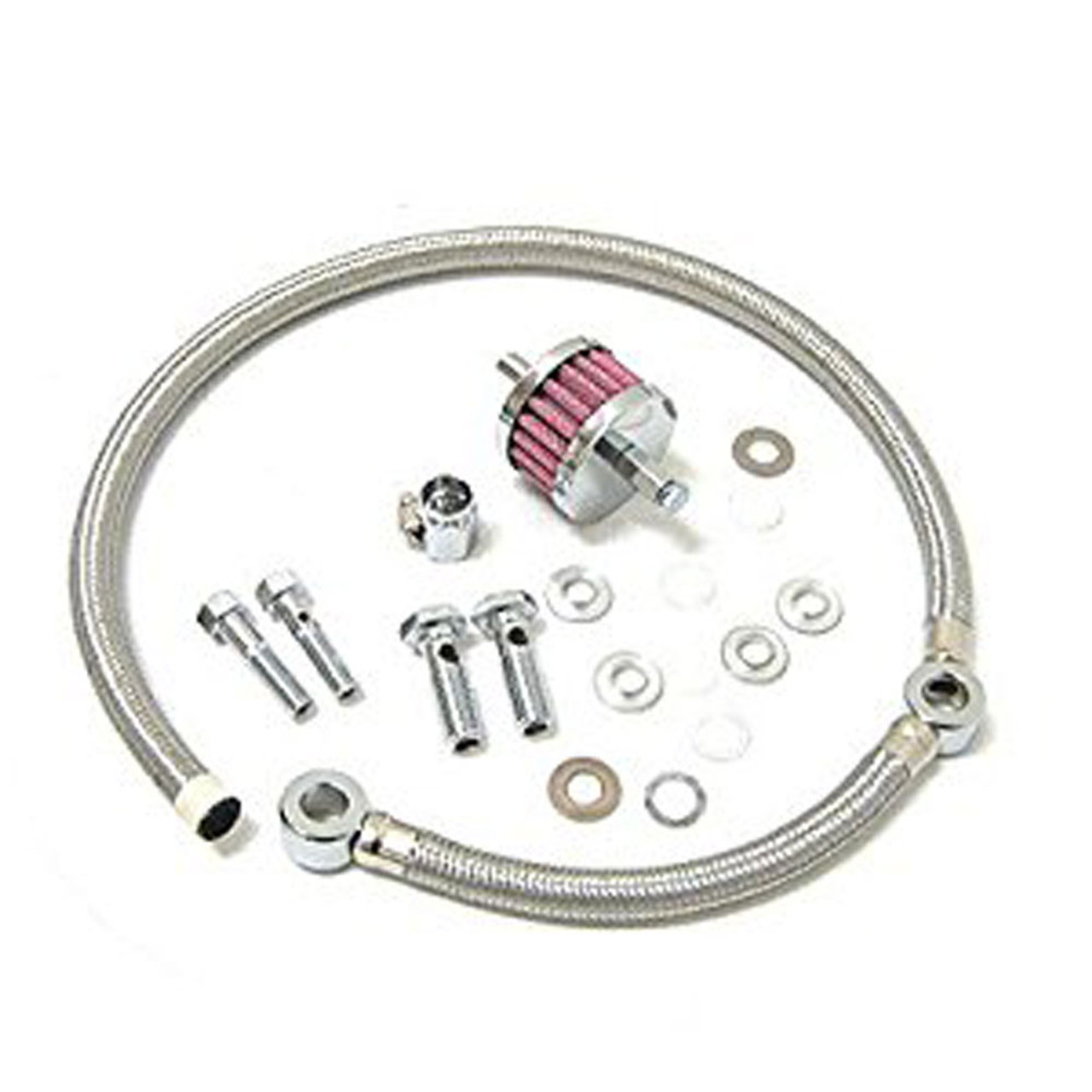 Drag Specialties Braided Hose Crankcase Breather Kit for