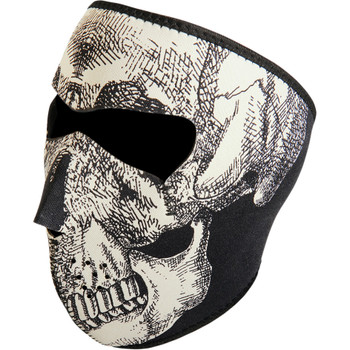 Zan Headgear Black & White Glow in the Dark Skull Face Mask