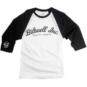 Biltwell Raglan 3/4 Sleeve Script T-Shirt Jersey