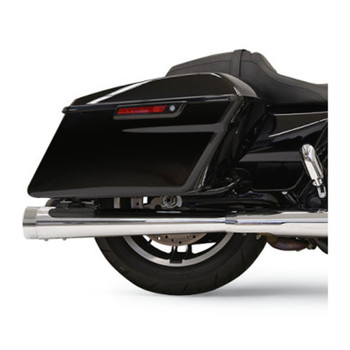 """Bassani 4"""" DNT Megaphone Mufflers for 2017 Harley Touring - Chrome with Chrome End Caps"""