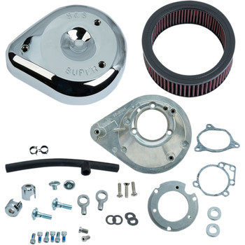 S&S Teardrop Air Cleaner Kit for 2008-2016 Harley Touring Stock-Bore Throttle By Wire and 2016-2017 Softail - Chrome