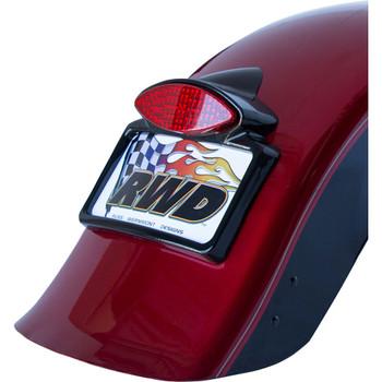 Russ Wernimont LED Run/Turn/Brake Tail Light with License Plate Frame for Harley - Gloss Black