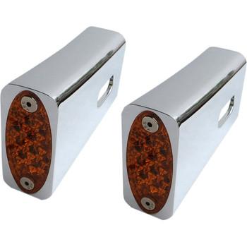 Pro-One Amber LED Fender Strut LED Marker Lights for Harley - Chrome