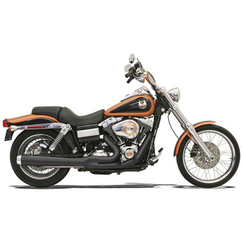 Bassani Long Road Rage 2-Into-1 Exhaust for 2006-2017 Harley Dyna - Black