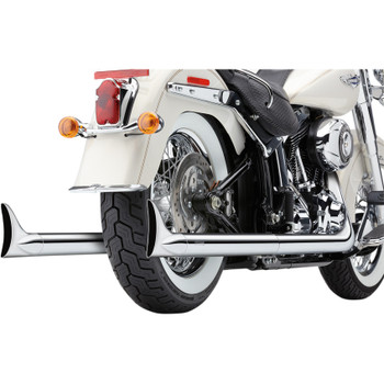 Cobra Chrome Dual Exhaust System with Fishtail Tips for 2012-2017 Harley Softail