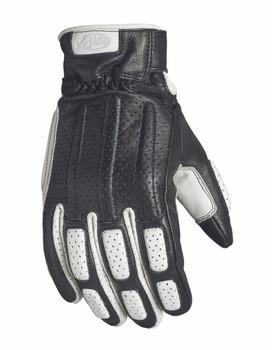 Roland Sands Rourke Leather Gloves - Black/White