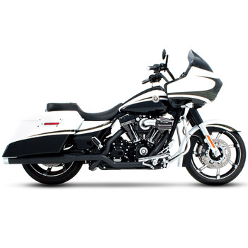 """Rinehart 4"""" Xtreme True Dual Exhaust for 2009-2016 Harley Touring - Black with Chrome Tips"""