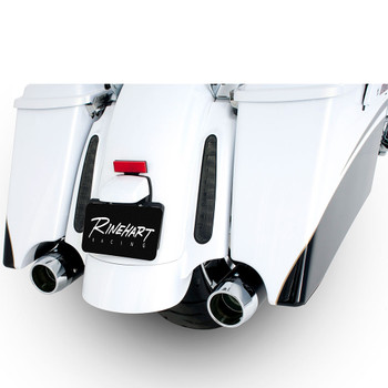 """Rinehart 3.5"""" Xtreme True Dual Exhaust for 2009-2016 Harley Touring - Black with Chrome Tips"""