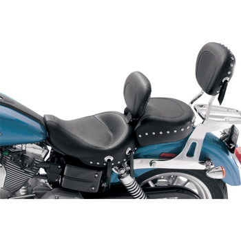 Mustang Chrome Studded Wide Touring Solo Seat w/ Driver Backrest for 2006-2017 Harley Dyna