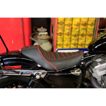 Mustang Revere Journey Stripe Solo Seat for 2006-2017 Harley Dyna - Dark Cherry Red Stitching