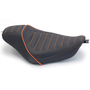 Mustang Revere Journey Stripe Solo Seat for 2006-2017 Harley Dyna - Mandarin Orange Stitch