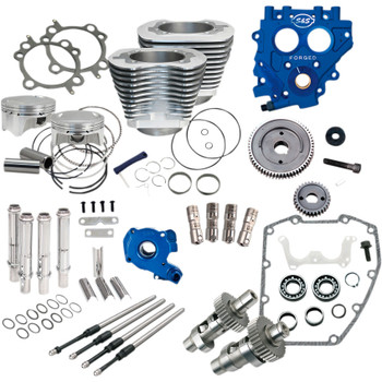 """S&S 100"""" Power Package Kit Gear Drive for 1999-2006 Harley Twin Cam - Silver"""