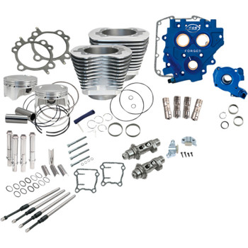 """S&S 110"""" Power Package Kit Chain Drive for 2000-2017 Harley Twin Cam - Silver"""