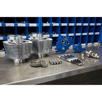 """S&S 110"""" Power Package Kit Gear Drive for 2000-2017 Harley Twin Cam - Silver"""
