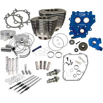 """S&S 110"""" Power Package Kit Gear Drive for 2000-2017 Harley Twin Cam - Black"""