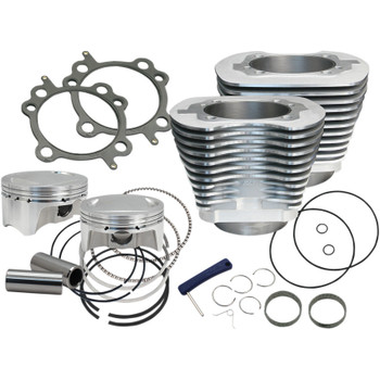 """S&S Sidewinder 4"""" Big Bore Kit 110"""" for 2007-2017 Harley Twin Cam - Silver"""