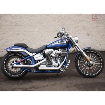 Rinehart Kick Backs Exhaust for 2013-Up Harley Softail Breakout - Chrome w/ Chrome Tips