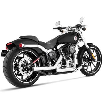 Rinehart Kick Backs Exhaust for 2007-Up Harley Softail - Chrome w/ Chrome Tips