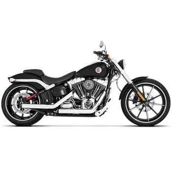 Rinehart Kick Backs Exhaust for 2007-Up Harley Softail - Chrome