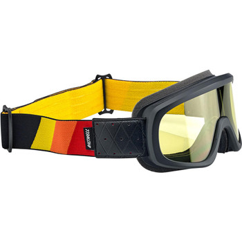 Biltwell Overland 2.0 Tri-Stripe Goggles - Black Red/Yellow/Orange