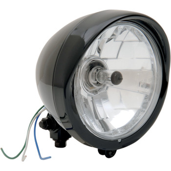 Drag Specialties Black Diamond-Style Bottom-Mount Headlight Assembly With Visor - Black
