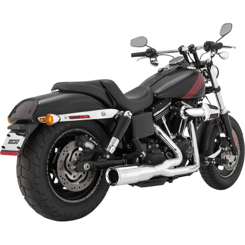 Vance & Hines Hi-Output 2-Into-1 Short Exhaust for 2006-2017 Harley Dyna - Chrome