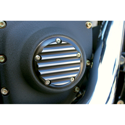 Joker Machine Finned Points Cover for 1999-2017 Harley Twin Cam - Black/Natural