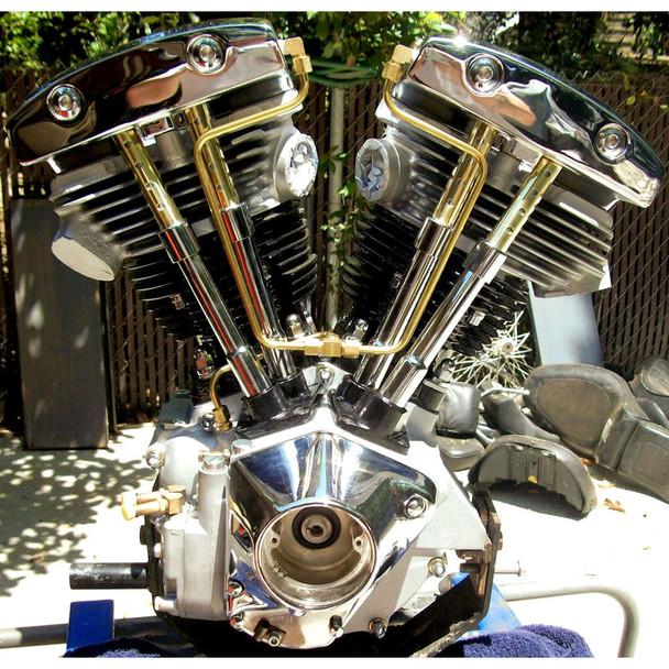 Old-Stf Rocker Box Split Oil Lines for 1966-1984 Harley Shovelhead - Brass
