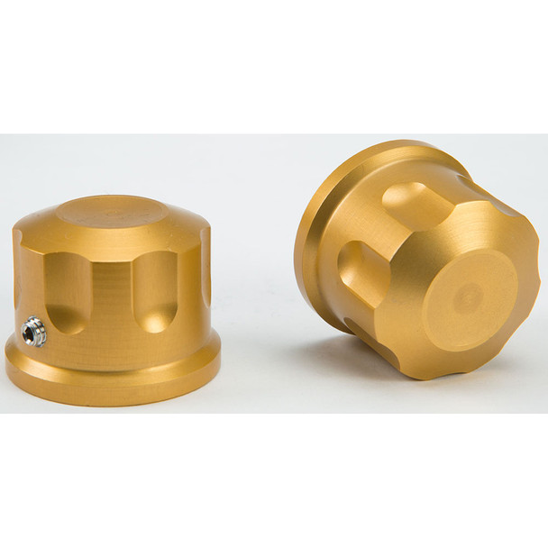 Rooke Customs Front Axle Nut Covers for Harley - Gold