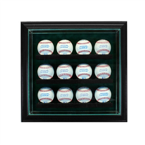 12 Baseball Cabinet Style Display Case BLACK with Green Suede