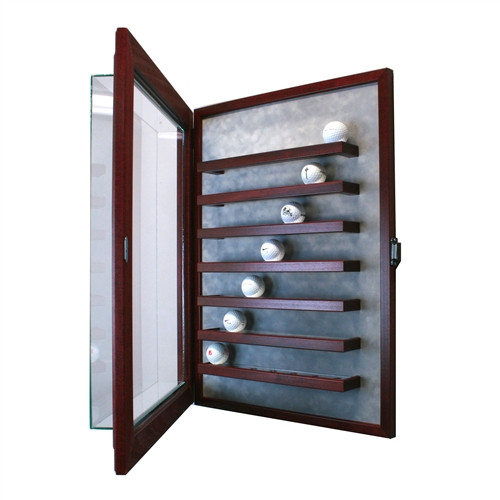 49 Golf Ball Cabinet Style Display Case Cherry W Grey Suede