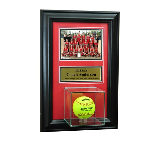 Wall Mounted Softball Case with 5x7 and Engraving Plate for Individual Award