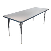 Advantage 24 in. x 48 in. Rectangular Adjustable Activity Table - Grey/Navy [AT2448-GN]