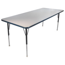 Advantage 30 in. x 60 in. Rectangular Adjustable Activity Table - Grey/Navy [AT3060-GN]