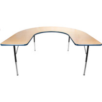 Advantage 60 in. x 66 in. Horseshoe Adjustable Activity Table - Maple/Navy [AT6066HRSH-MN]