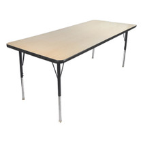 Advantage 30 in. x 48 in. Rectangular Adjustable Activity Table - Maple/Black [AT3048-MB]