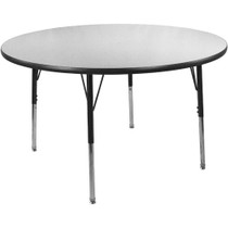 Advantage 48 in. Round Adjustable Activity Table - Grey/Black [AT48R-GB]