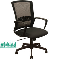 Advantage Black Mesh Office Chairs - Black Padded Seat [KB-8929-BLK]