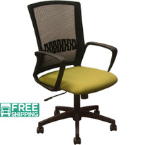 Advantage Black Mesh Office Chairs - Green Padded Seat [KB-8929-GRN]
