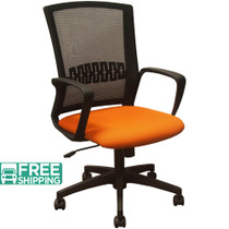 Advantage Black Mesh Office Chairs - Orange Padded Seat [KB-8929-ORANGE]