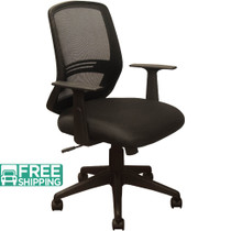 Advantage Black Mesh Office Chairs - Contoured Black Padded Seat [KB-2012-BLK]