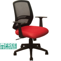 Advantage Black Mesh Office Chairs - Contoured Red Padded Seat [KB-2012-RED]