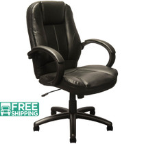 Advantage Extended Mid-back Black Leather Executive Office Chairs [KB-9602B]