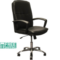 Advantage High Back Black Leather Executive Office Chair - Chrome Base [KB-3003]
