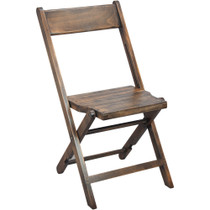 Advantage Slatted Wood Folding Wedding Chair - Antique Black [WFC-SLAT-AB]