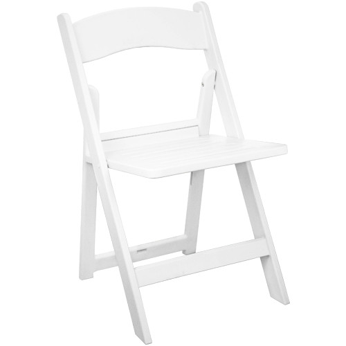 Advantage White Resin Folding Chairs With Slatted Seat [RFWCA-100-SLAT]