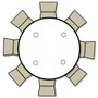 Advantage 5 ft. Round Wood Folding Banquet Table [FTPW-60R] seats 8 adults